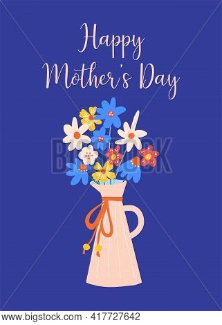 Mothers Day Greeting Card Template Flower Vase Blue. Floral Vase Hand Drawn Mothers Day Holiday Gree
