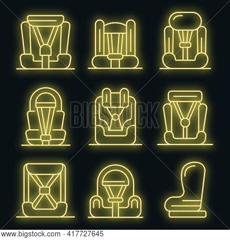 Baby Car Seat Icons Set. Outline Set Of Baby Car Seat Vector Icons Neon Color On Black
