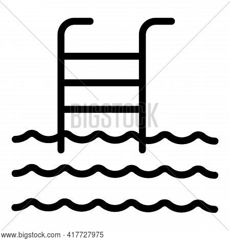 Swimming Pool Icon. Outline Swimming Pool Vector Icon For Web Design Isolated On White Background