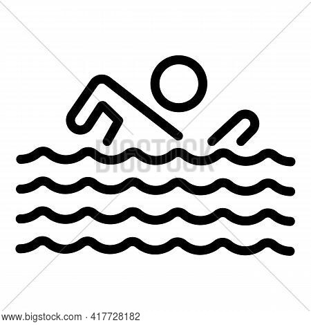 Swimming Competition Icon. Outline Swimming Competition Vector Icon For Web Design Isolated On White