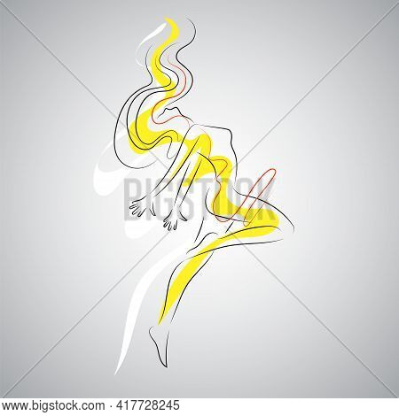 Creative Silhouette Of Gymnastic Girl. Art Gymnastics Dancing Woman, Line Art Logo.