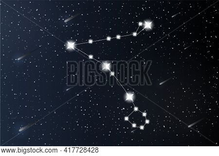 Pisces. Zodiac Constellation On Outer Space Background. Mystery And Esoteric. Horoscope Vector Illus