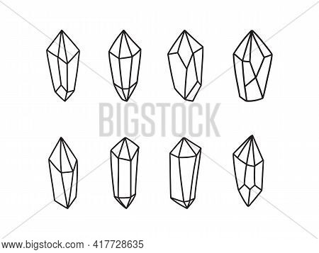Magic Crystal Vector Illustration Set. Trendy Witchcraft Symbol Gem Isolated On White Backround. Boh