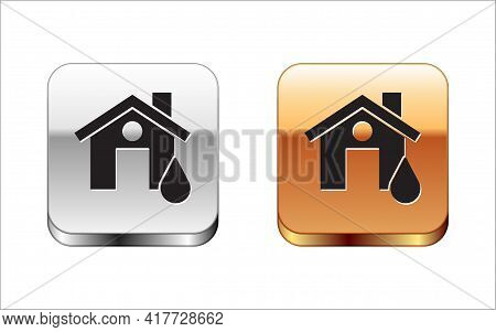 Black House Flood Icon Isolated On White Background. Home Flooding Under Water. Insurance Concept. S