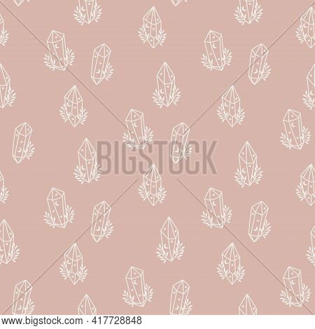 Magic Seamless Pattern With Floral Crystal. Trendy Witchcraft Symbol On Pink Background. Mystical Cr