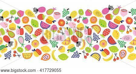 Fruit Seamless Border Vector. Repeating Horizontal Pattern Colorful Cute Healthy Fruit Salad. Abstra
