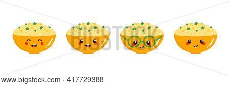 Set, Collection Of Cute And Smiling Cartoon Style Bowl Of Hummus Characters, Traditional Middle East