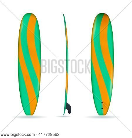 Three Realistic Projections Of Longboard Made In Green And Orange Colors Isolated Vector Illustratio