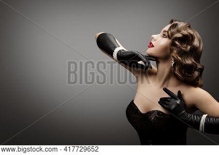 Retro Elegant Woman With Wavy Hairstyle, Fashion Beautiful Model, Vintage Style, Old Fashioned Lady