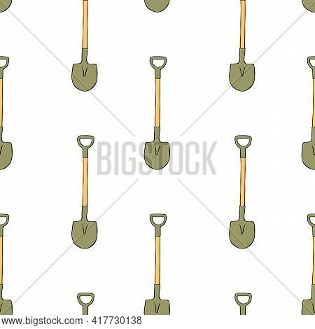 Seamless Pattern With Garden Shovels, Spades, Scoops. Vector Backgrounds And Textures With Tools For