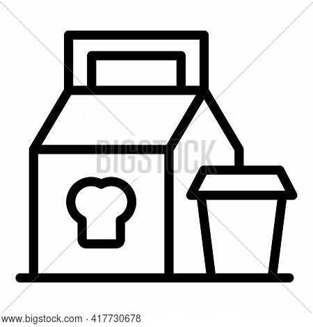 Delivery Lunch Icon. Outline Delivery Lunch Vector Icon For Web Design Isolated On White Background