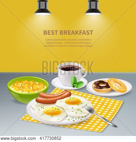 Best Tasty Breakfast With Eggs Sausages Flakes Donuts And Coffee On Grey Table Realistic Background
