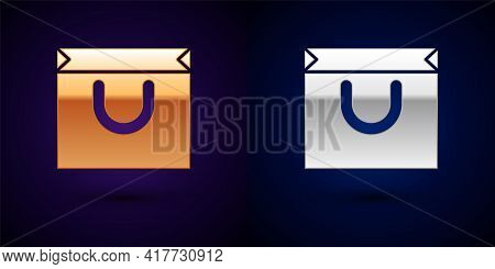 Gold And Silver Shopping Bag Icon Isolated On Black Background. Shopping Bag Shop Love Like Heart Ic