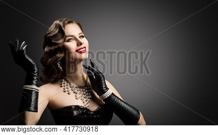 Happy Smiling Retro Beautiful Woman Portrait, Pearl Necklace And Leather Gloves, Vintage Corset Dres