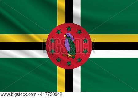Flag Of Dominica Fabric Texture Of The Flag Of Dominica.