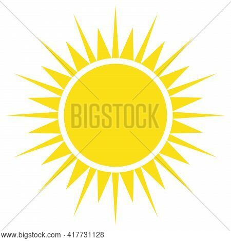 Yellow Sun. Symbol Of Hot Weather Day, Summer Holiday Or New Life. Simple Flat Vector Silhouette