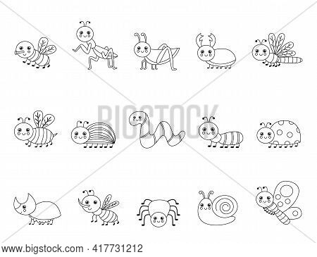 Color Cute Insects. Coloring Page For Kids.