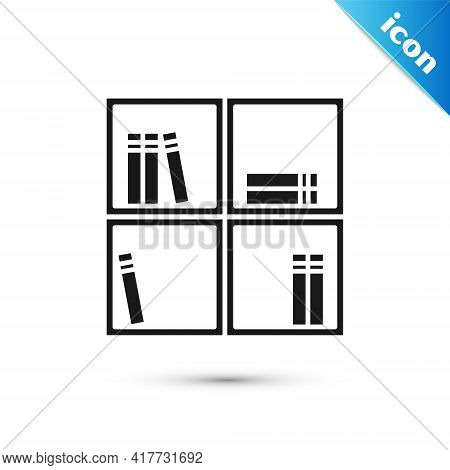 Grey Shelf With Books Icon Isolated On White Background. Shelves Sign. Vector