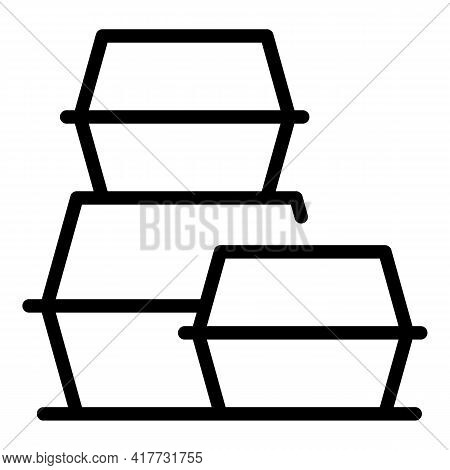 Takeout Boxes Icon. Outline Takeout Boxes Vector Icon For Web Design Isolated On White Background