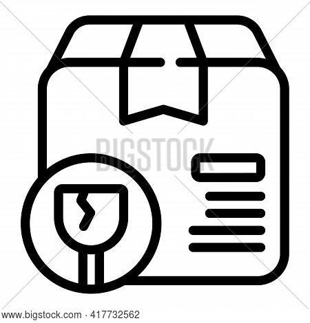 Broken Parcel Icon. Outline Broken Parcel Vector Icon For Web Design Isolated On White Background
