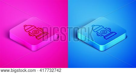 Isometric Line Fire Hydrant Icon Isolated On Pink And Blue Background. Square Button. Vector