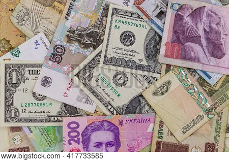 Multicurrency Background Of Us Dollars, Russian Rubles, Belarusian Rubles, Egyptian Pounds And Ukrai