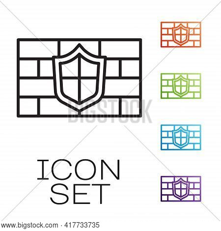 Black Line Shield With Cyber Security Brick Wall Icon Isolated On White Background. Data Protection