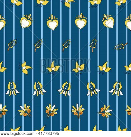Vector Bright Blue Breton Stripes Background Brittany Celtic, Breton Trational Folklore Symbols Seam