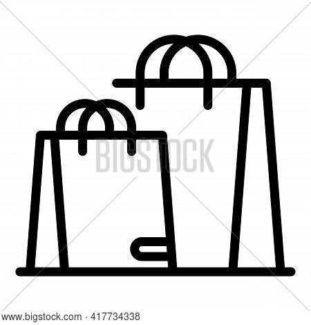 Purchase Bags Icon. Outline Purchase Bags Vector Icon For Web Design Isolated On White Background