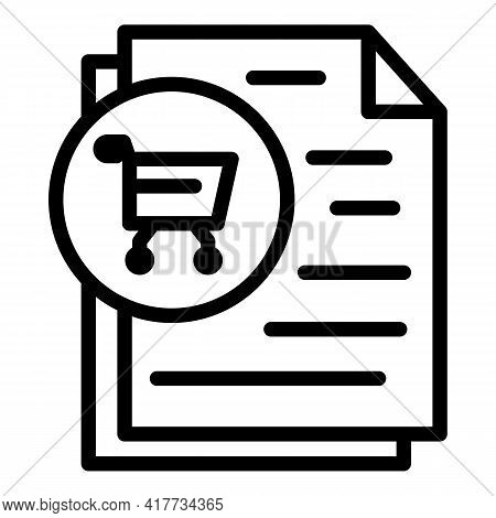 Shopping List Icon. Outline Shopping List Vector Icon For Web Design Isolated On White Background