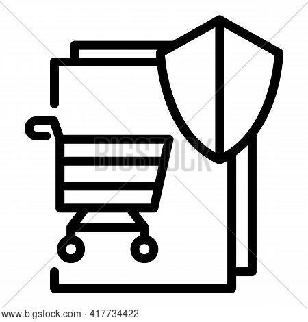 Safe Shopping Icon. Outline Safe Shopping Vector Icon For Web Design Isolated On White Background