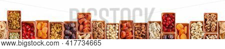 Horizontally Seamless Flat Lay Food Frame Of Dehydrated Fruits, Seeds And Nuts On White. Non-perisha