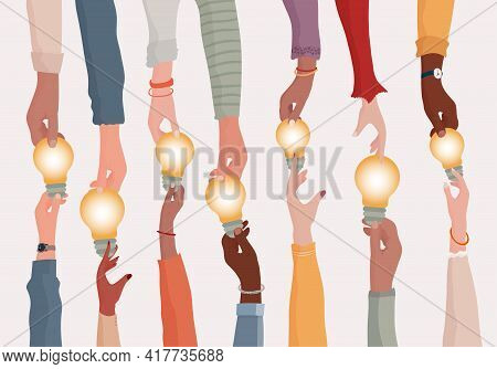 Brainstorming Concept.metaphor Of Diverse People Proposing Or Sharing Innovative Ideas Solutions And