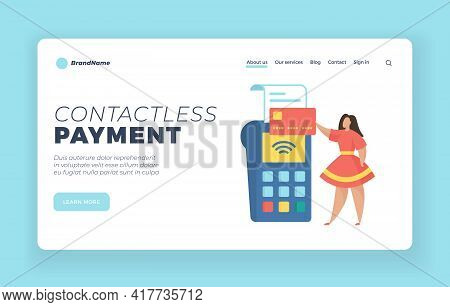 Contactless Payment Landing Page Website Banner Template. Female Cartoon Character Buyer Holding Cre