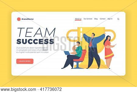 Team Success Landing Page Website Banner Template. Male And Female Cartoon Characters Stand Next To