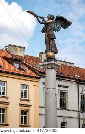 Vilnius, Lithuania - April 10, 2021: Uzupis Angel Sculpture (sculptor Romas Vilciauskas) Was Placed
