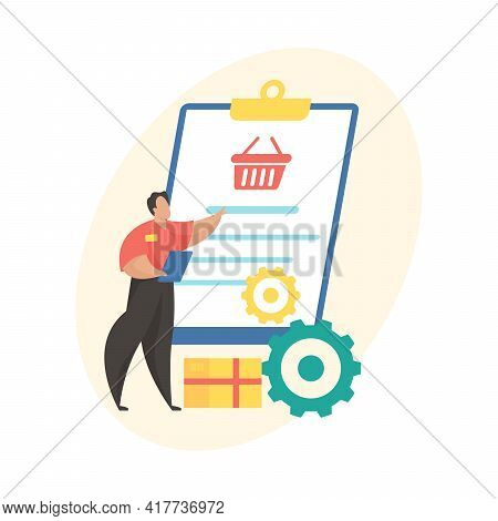Order Processing Flat Vector Illustration. Mobile Shopping Application Status Icon. Stage Of Ecommer