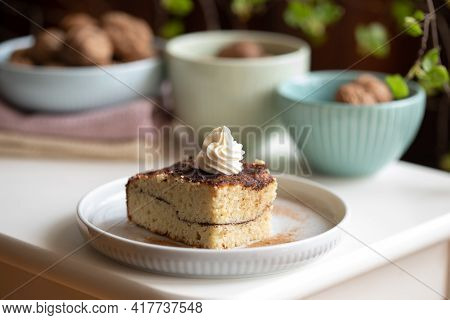 Low Carb (keto) Almond And Cinnamon Pie With Cream Cheese Frosting. Low Carb, Keto Dessert.