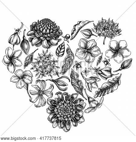 Heart Floral Design With Black And White Plumeria, Allamanda, Clerodendrum, Champak, Etlingera, Ixor