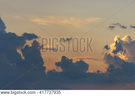 Beautiful Stormy Cumulus Clouds In The Sky, Background