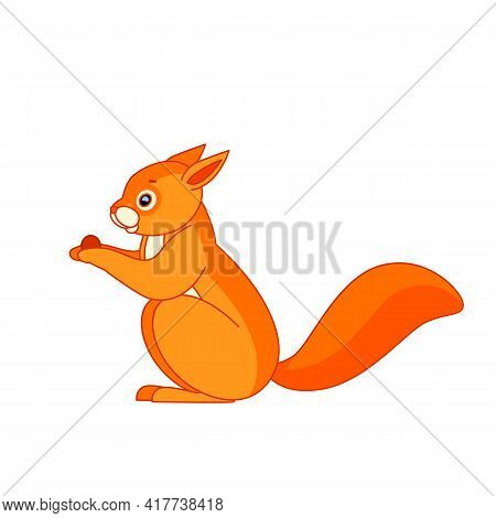 Squirrel Sits And Eats. Cartoon Character Of An Rodent Mammal Animal. A Wild Forest Creature With Or