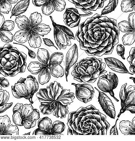 Seamless Pattern With Black And White Hibiscus, Plum Flowers, Peach Flowers, Sakura Flowers, Magnoli
