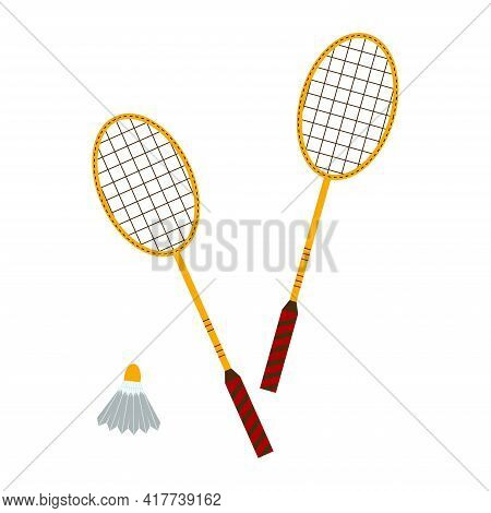 Badminton Rackets And Shuttlecock. Outdoor Sports Games. Flat Style Vector Illustration Isolated On