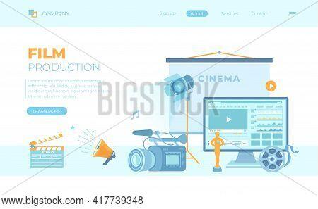 Film Production, Film Making Concept. Movie Camera, Loud Speaker, Clapper Board, Cine-film, Video Ed