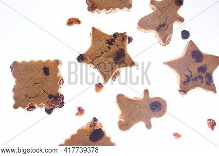 Cookies In Different Shapes, Gluten-free, Lactose-free, Healthy Dessert With Dark Chocolate And Rais