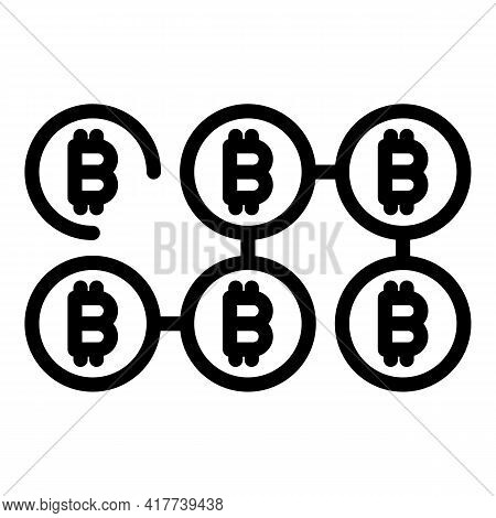 Blockchain Crypto Icon. Outline Blockchain Crypto Vector Icon For Web Design Isolated On White Backg