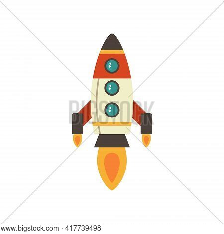 Cartoon Rocket Space Ship Take Off, Isolated Vector Illustration. Simple Retro Spaceship Icon