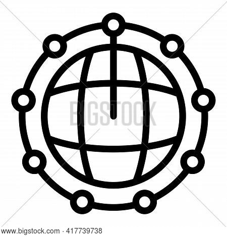 Global Network Blockchain Icon. Outline Global Network Blockchain Vector Icon For Web Design Isolate