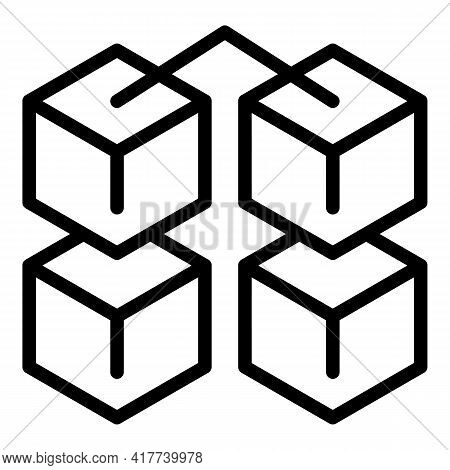 Block Chain Investment Icon. Outline Block Chain Investment Vector Icon For Web Design Isolated On W