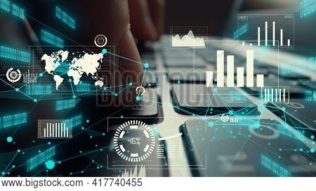 Creative Visual Of Business Big Data And Finance Analysis On Computer Showing Concept Of Statistical